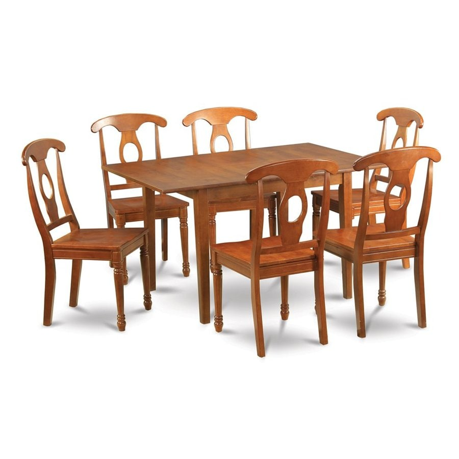 East West Furniture Milan Saddle Brown 7-Piece Dining Set with Dining Table