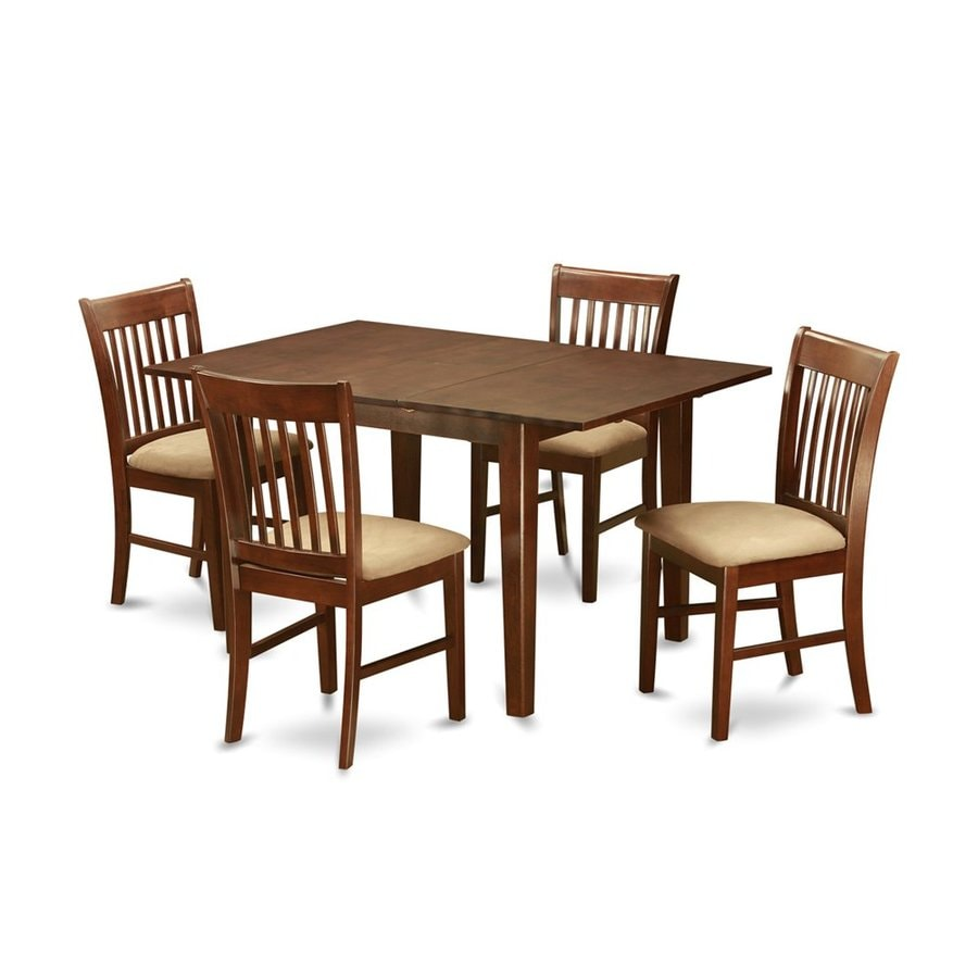 East West Furniture Milan Mahogany 5-Piece Dining Set with Dining Table