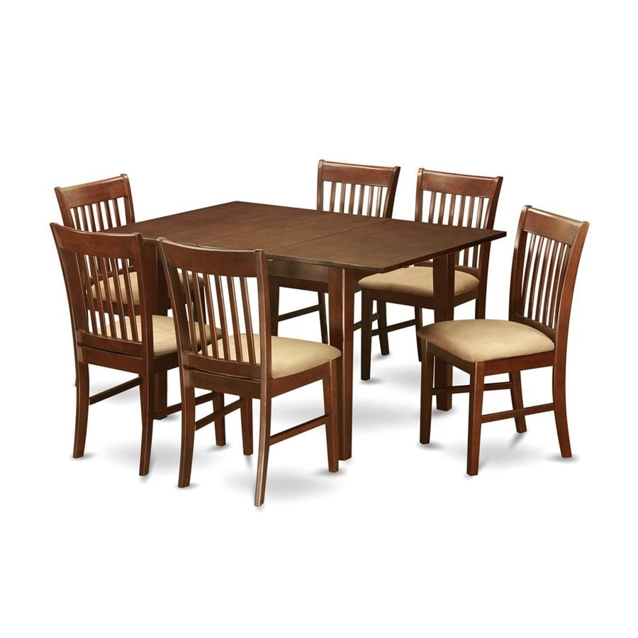 East West Furniture Milan Mahogany 7-Piece Dining Set with Dining Table