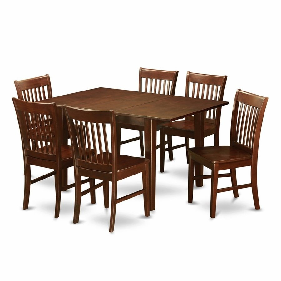 Shop East West Furniture Milan Mahogany 7 Piece Dining Set