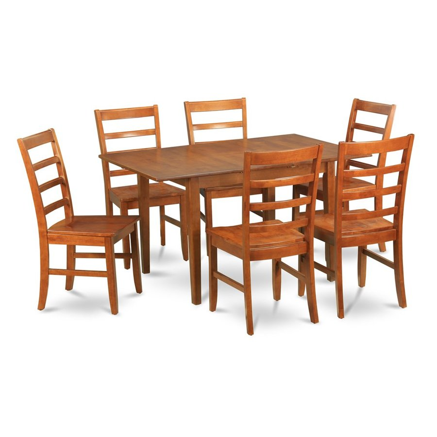 Shop East West Furniture Milan Saddle Brown 7 Piece Dining