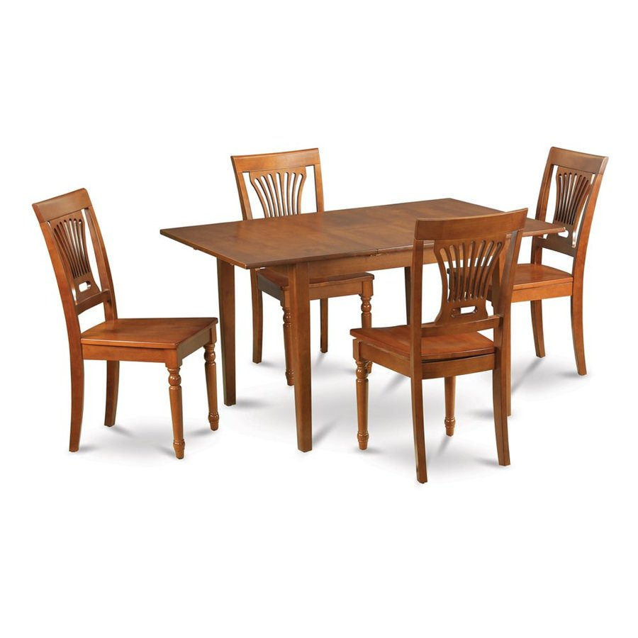 East West Furniture Milan Saddle Brown 5 Piece Dining Set With Table