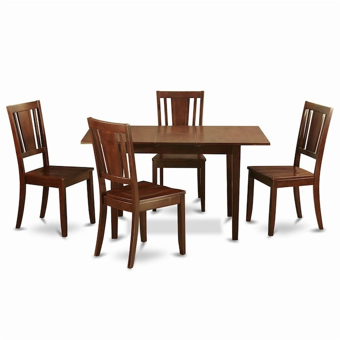 East West Furniture Norfolk Mahogany 5 Piece Dining Set With Dining Table In The Dining Room Sets Department At Lowes Com