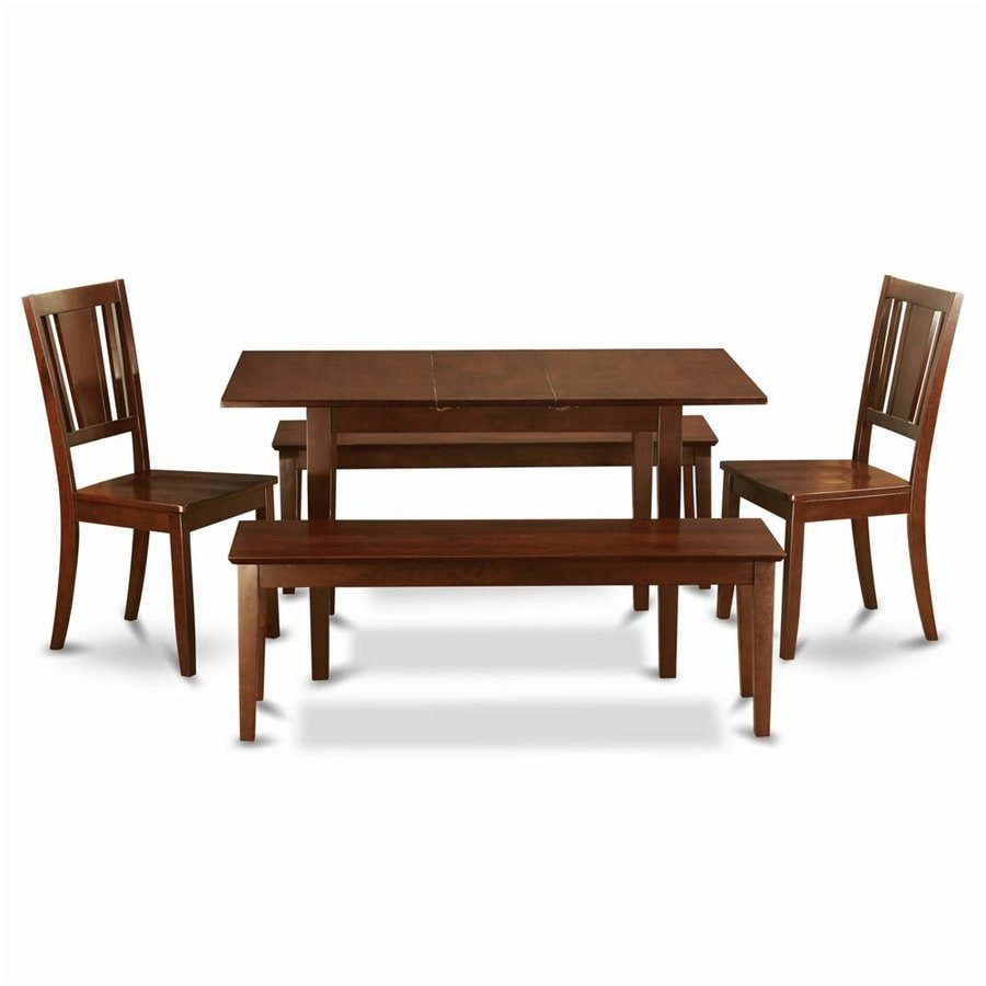 East West Furniture Norfolk Mahogany 5-Piece Dining Set with Dining Table