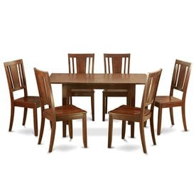 East West Furniture Norfolk Mahogany 7 Piece Dining Set With Dining Table