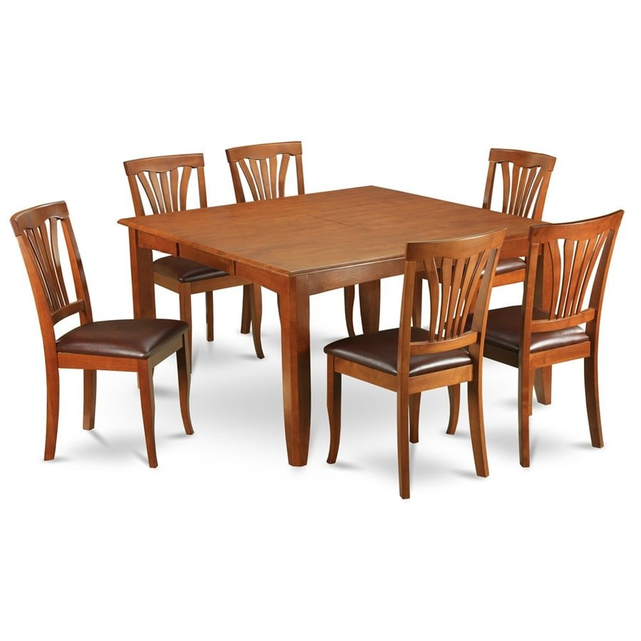 East West Furniture Parfait Saddle Brown 7-Piece Dining Set with Dining Table