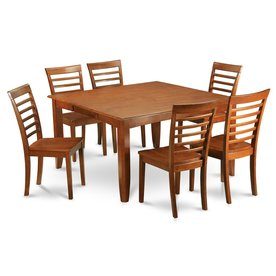 East West Furniture Parfait Saddle Brown 7 Piece Dining Set With Dining  Table