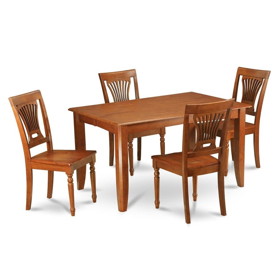 East West Furniture Parfait Saddle Brown 5-Piece Dining Set with Dining Table