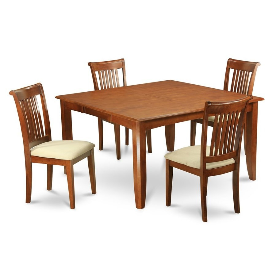 East West Furniture Parfait Saddle Brown Dining Set with Square Dining (29-in to 31-In) Table