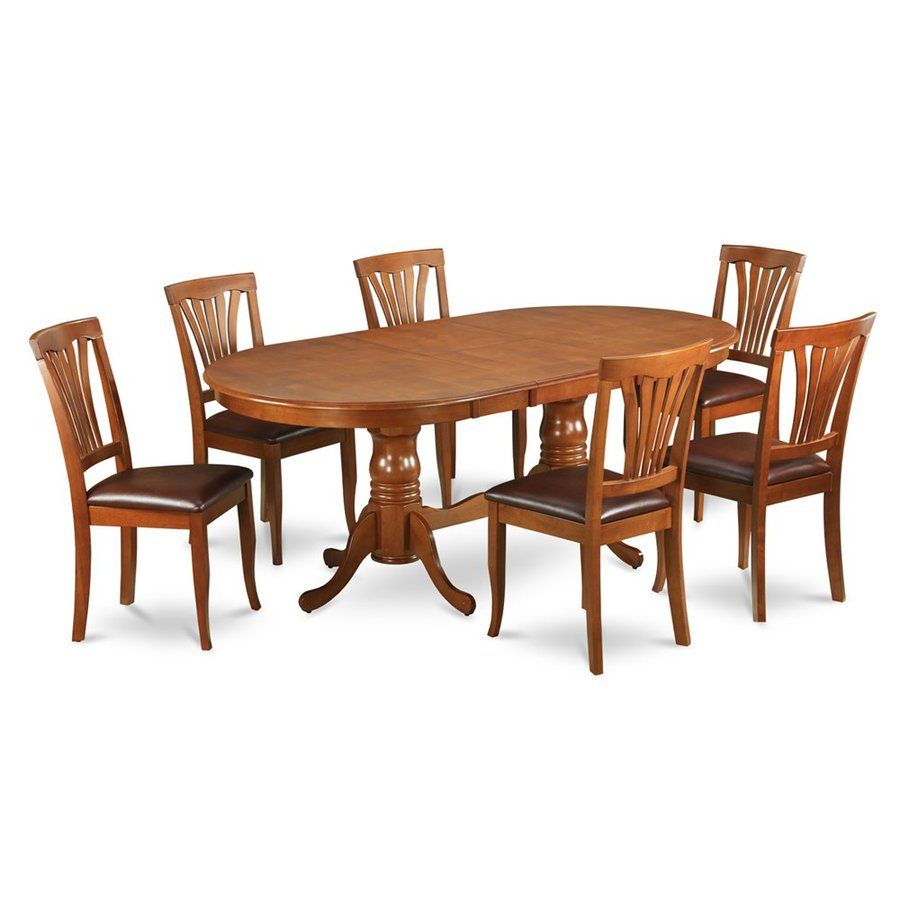 East West Furniture Plainville Saddle Brown Dining Set with Oval Dining (29-in to 31-In) Table
