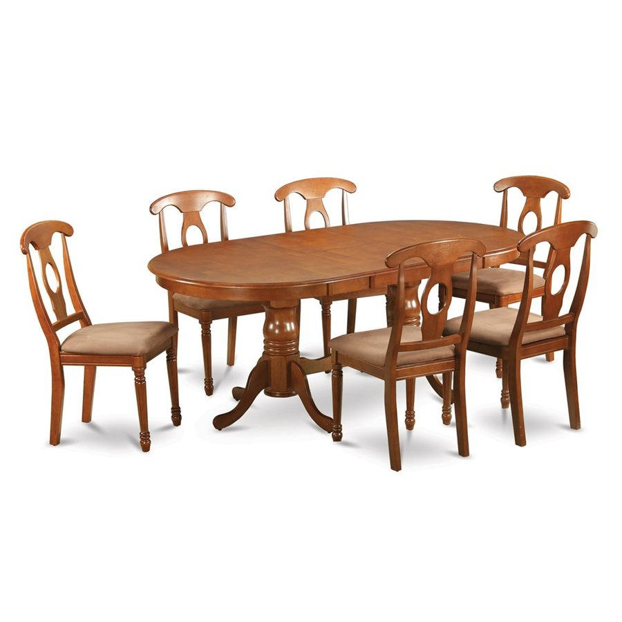 East West Furniture Plainville Saddle Brown 7-Piece Dining Set with Oval Dining Table