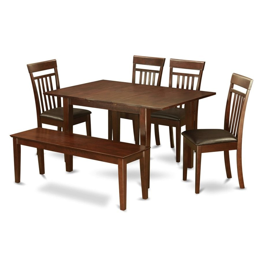East West Furniture Picasso Mahogany 6-Piece Dining Set with Dining Table