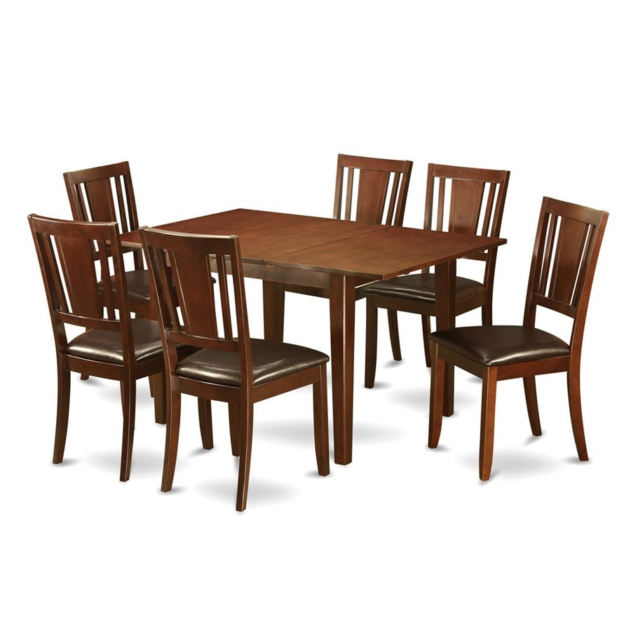Shop east west furniture picasso mahogany 7 piece dining for 7 piece dining set with bench
