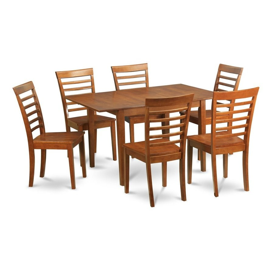 East West Furniture Picasso Saddle Brown 7-Piece Dining Set with Dining Table
