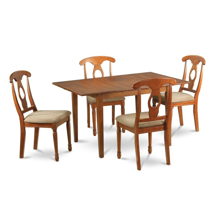 East West Furniture Picasso Saddle Brown 5-Piece Dining Set with Dining Table