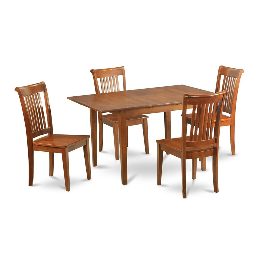 East West Furniture Picasso Saddle Brown Dining Set with Rectangular Dining (29-in to 31-In) Table