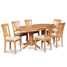 East West Furniture Vancouver Oak 7 Piece Dining Set With Oval Dining Table