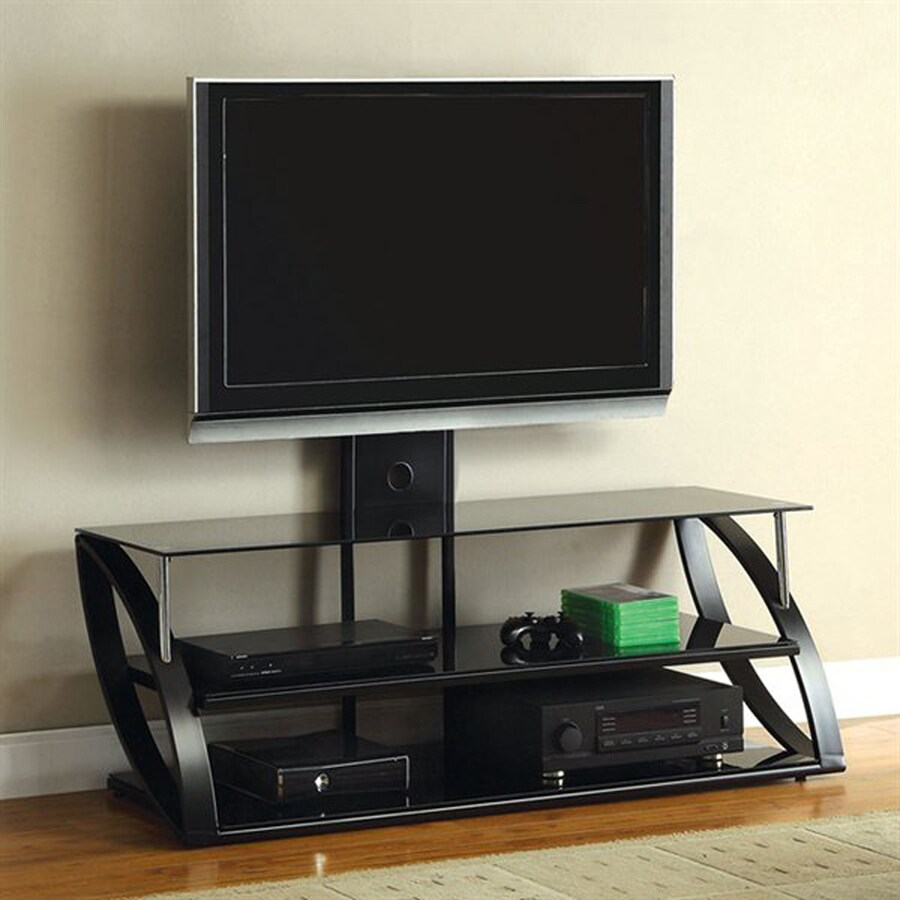 Furniture of America Adella Chrome/Black Universal TV Stand