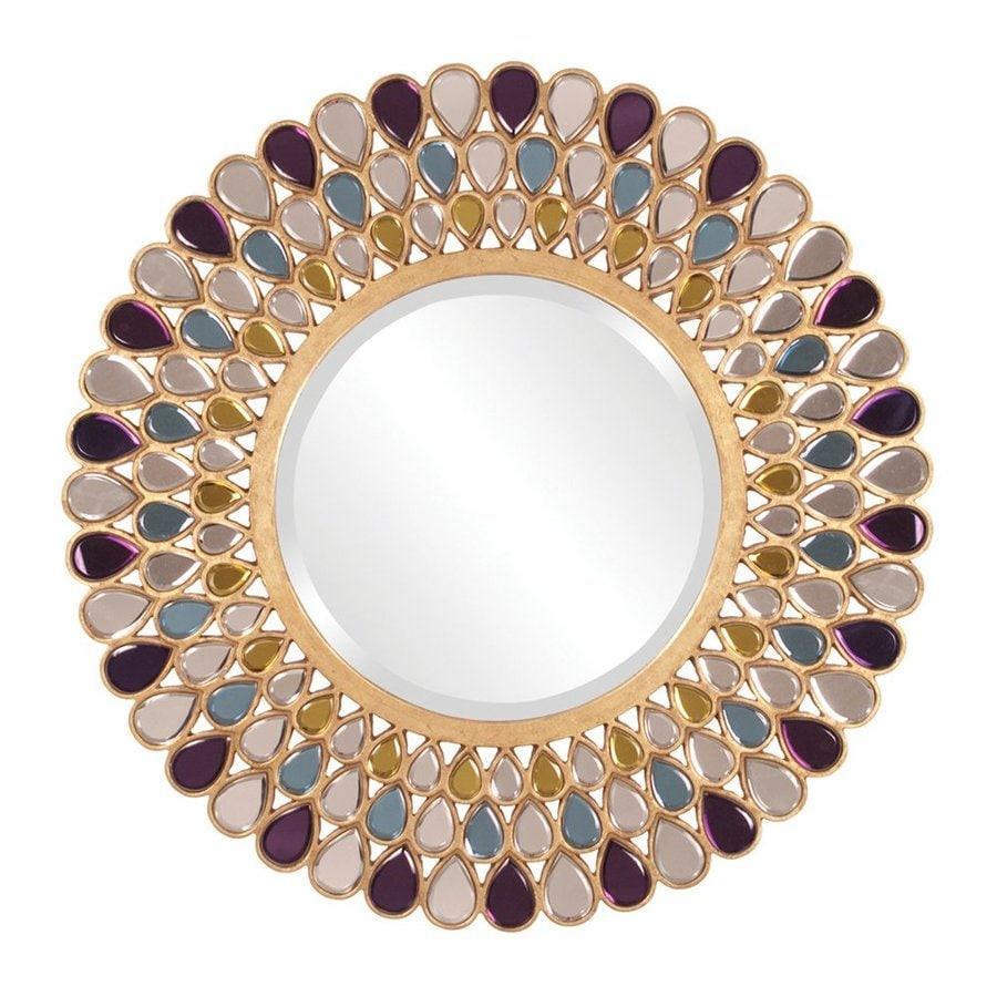 Howard Elliott Grace Amethyst/Amber/Topaz Beveled Round Wall Mirror