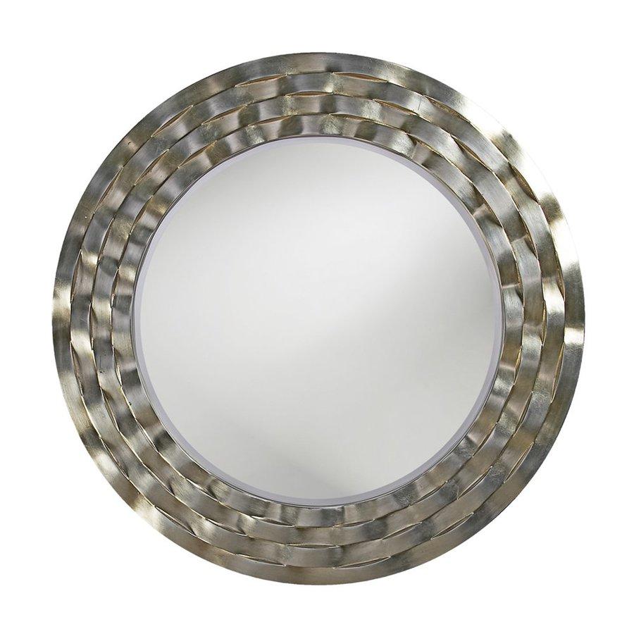Howard Elliott Cartier Silver Leaf/Brass Beveled Round Wall Mirror