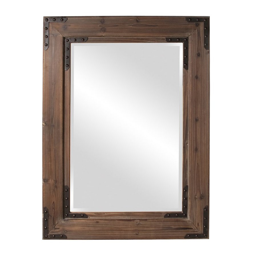 Howard Elliott Caldwell Natural/Black Iron Beveled Wall Mirror