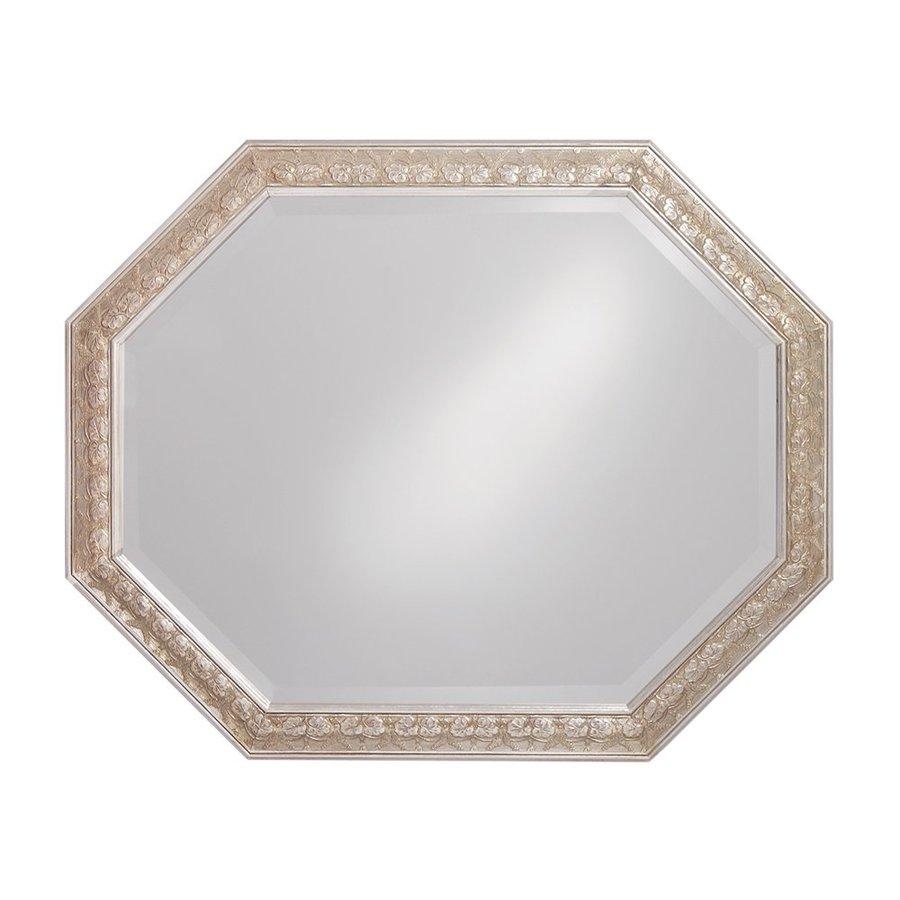 Howard Elliott Crete Silver Leaf Beveled Octagon Wall Mirror