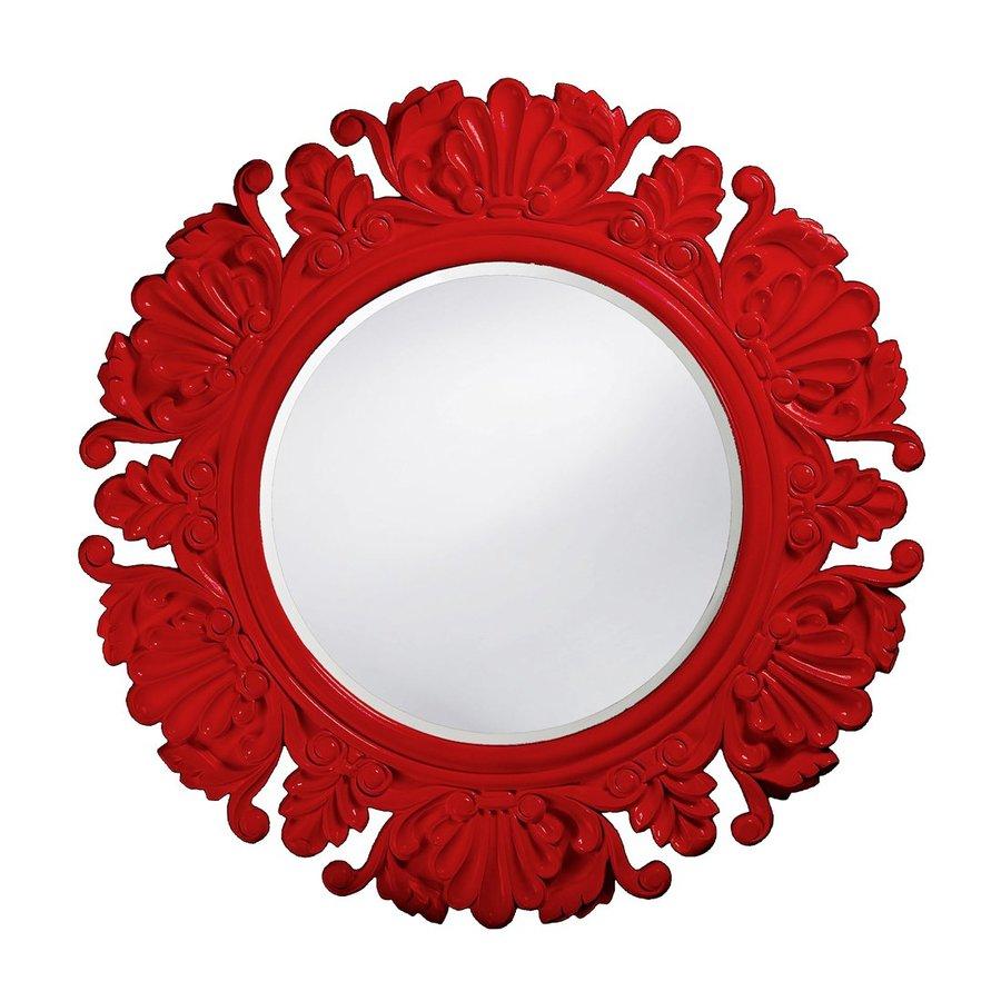 Howard Elliott Anita Red Beveled Round Wall Mirror