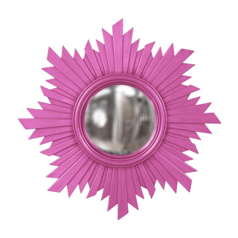 Howard Elliott Euphoria Hot Pink Polished Round Wall Mirror