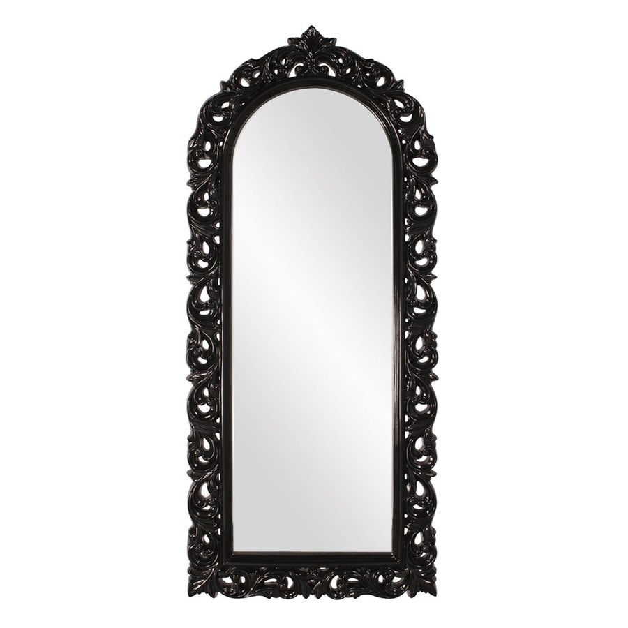 Howard Elliott Orleans Glossy Black Lacquer Arch Wall Mirror
