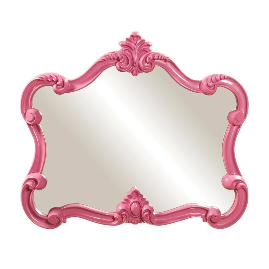 Howard Elliott Veruca 32-in x 28-in Glossy Pink Polished Arch Framed Venetian Wall Mirror