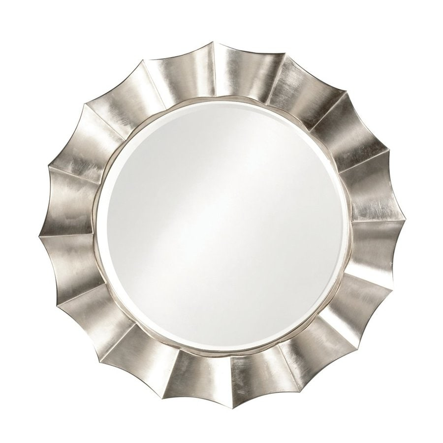 Howard Elliott Corona Silver Leaf Beveled Round Wall Mirror