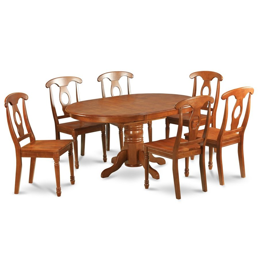 East West Furniture Avon Saddle Brown 7-Piece Dining Set with Oval Dining Table