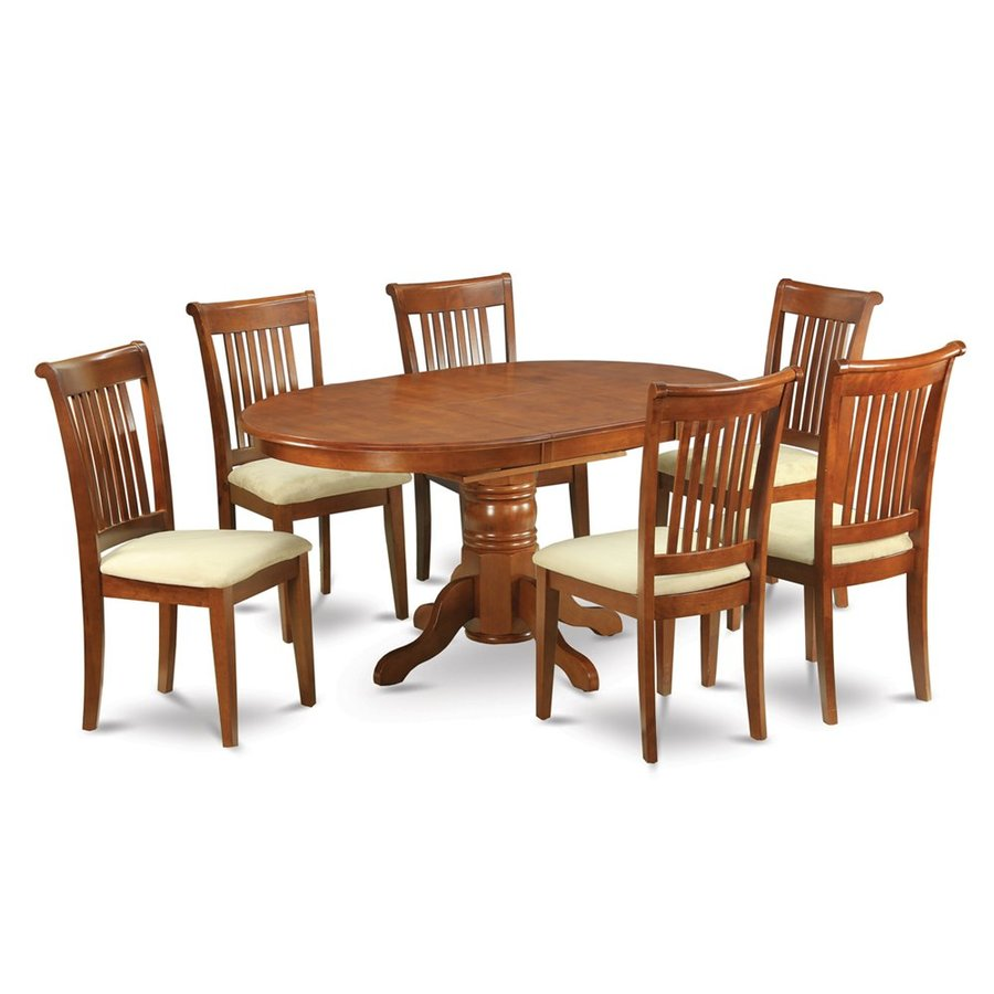 Ordinaire East West Furniture Avon Saddle Brown 7 Piece Dining Set With Oval Dining  Table