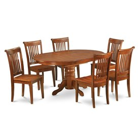 East West Furniture Avon Saddle Brown 7-Piece Dining Set with Oval Dining Table  sc 1 st  Loweu0027s & Shop Dining Sets at Lowes.com