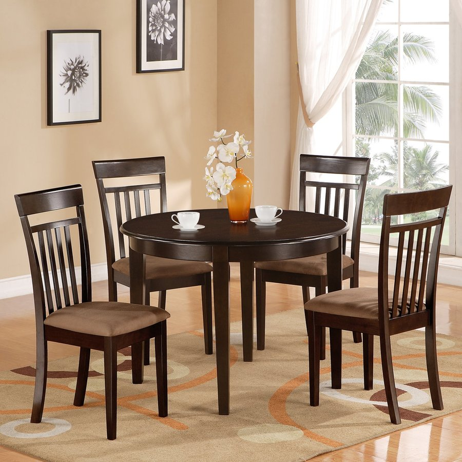 East West Furniture Bosca Cappuccino 3 Piece Dining Set With Round Dining  Table