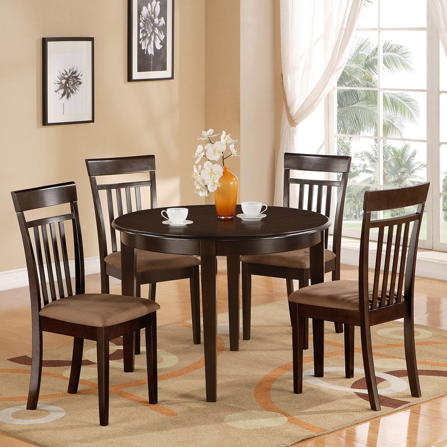 East West Furniture Bosca Cappuccino 5 Piece Dining Set With Round Dining  Table