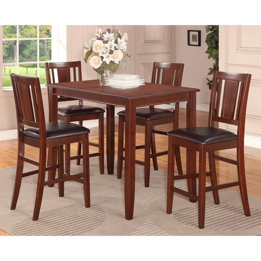 East West Furniture Buckland Mahogany 5-Piece Dining Set with Counter Height Table