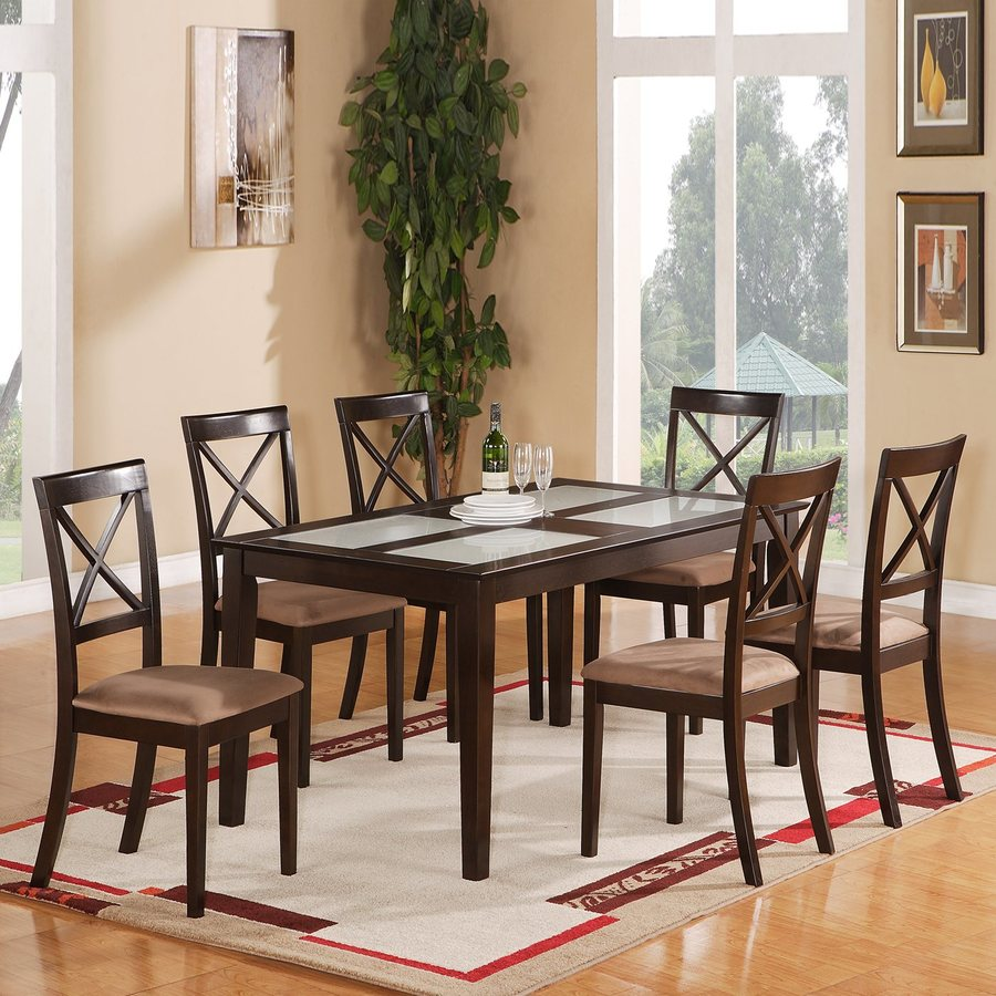 East West Furniture Cabos Cappuccino 7-Piece Dining Set with Dining Table