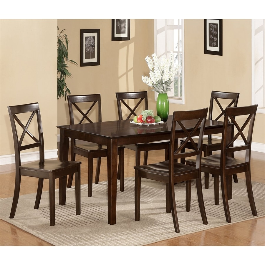 East West Furniture Cabos Cappuccino Dining Set with Rectangular Dining (29-in to 31-In) Table