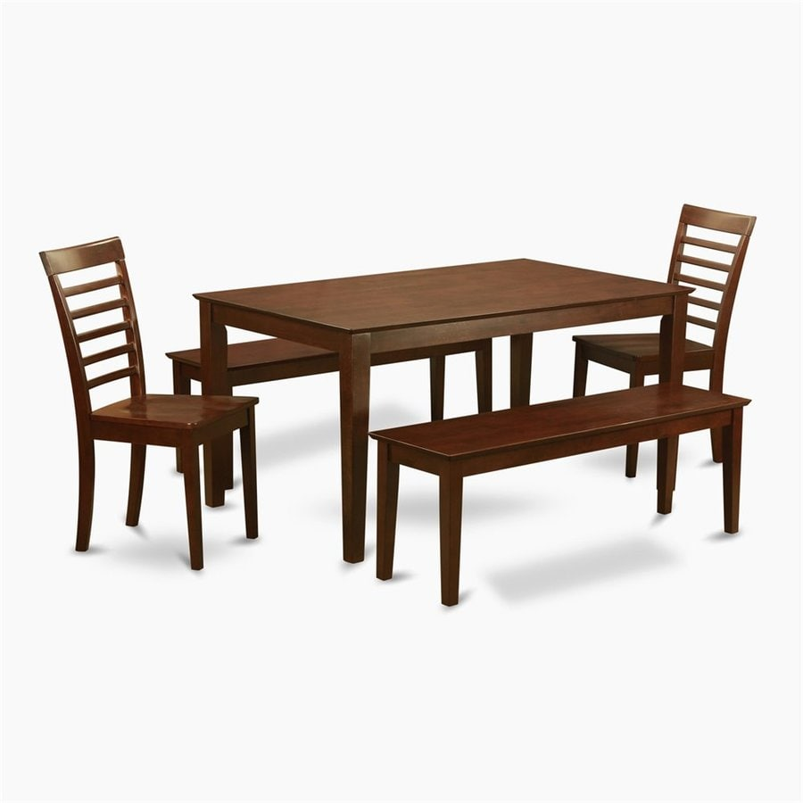 East West Furniture Capri Mahogany Dining Set with Rectangular Dining (29-in to 31-In) Table