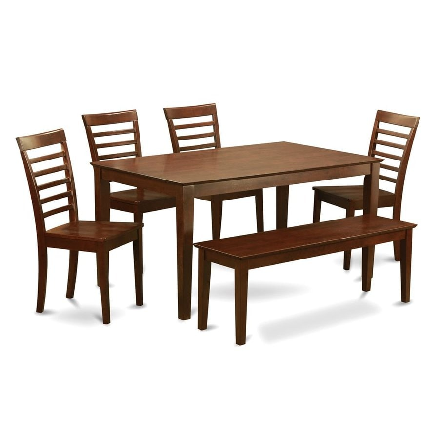 East West Furniture Capri Mahogany 6-Piece Dining Set with Dining Table
