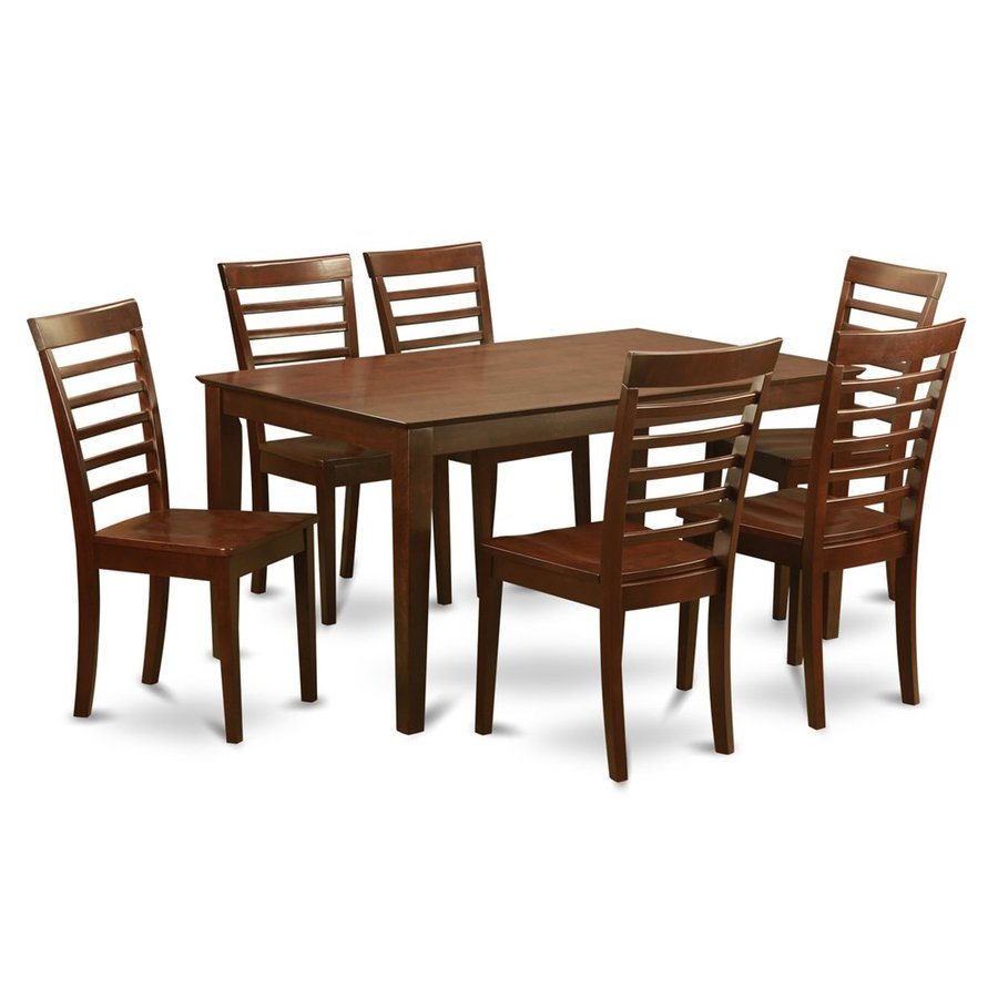 East West Furniture Capri Mahogany 7-Piece Dining Set with Dining Table