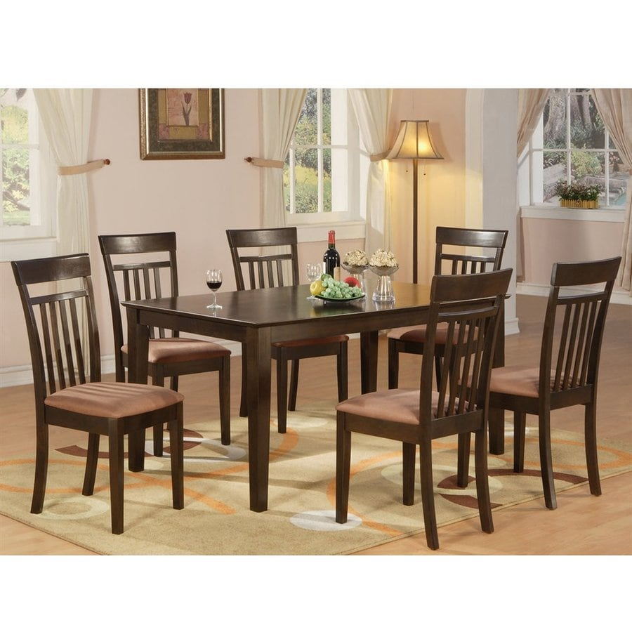 Superieur East West Furniture Capri Cappuccino 7 Piece Dining Set With Dining Table