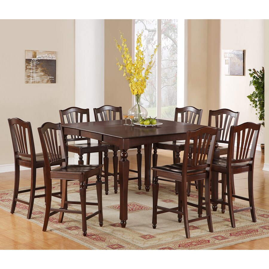 East West Furniture Chelsea Mahogany 5-Piece Dining Set with Counter Height Table