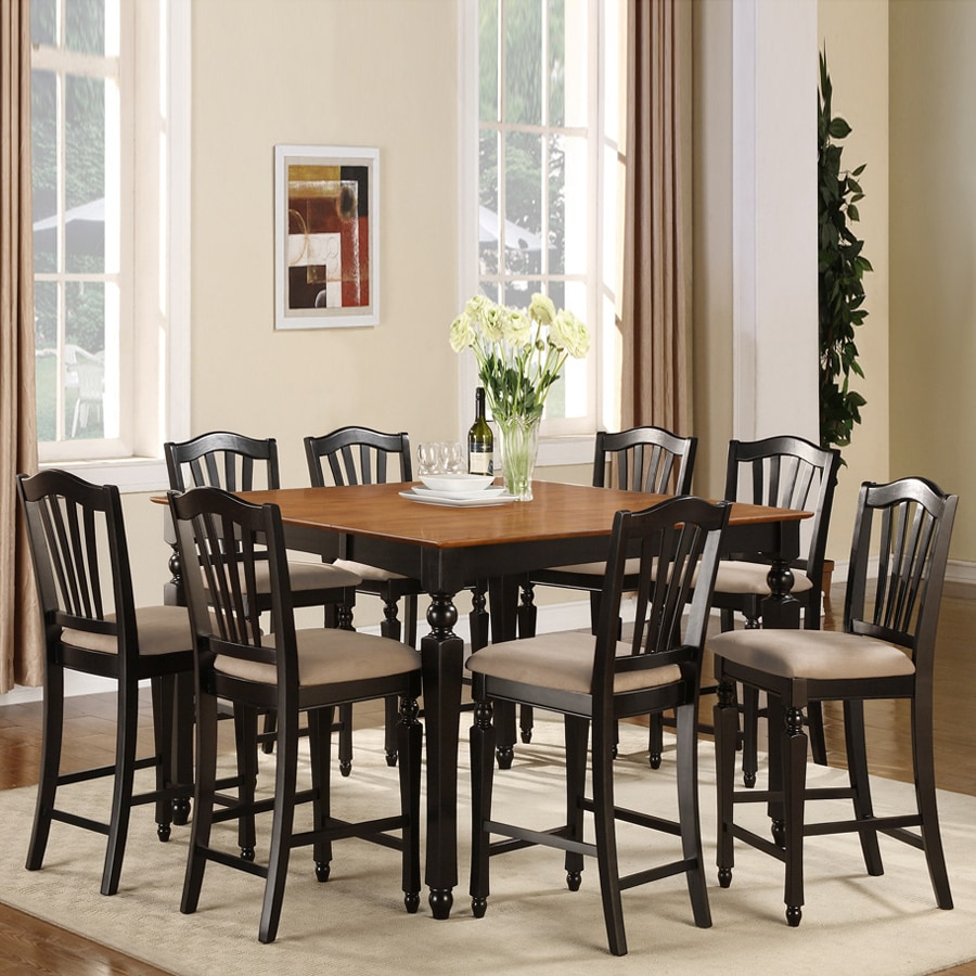 East West Furniture Chelsea Black and Cherry 7-Piece Dining Set with Counter Height Table