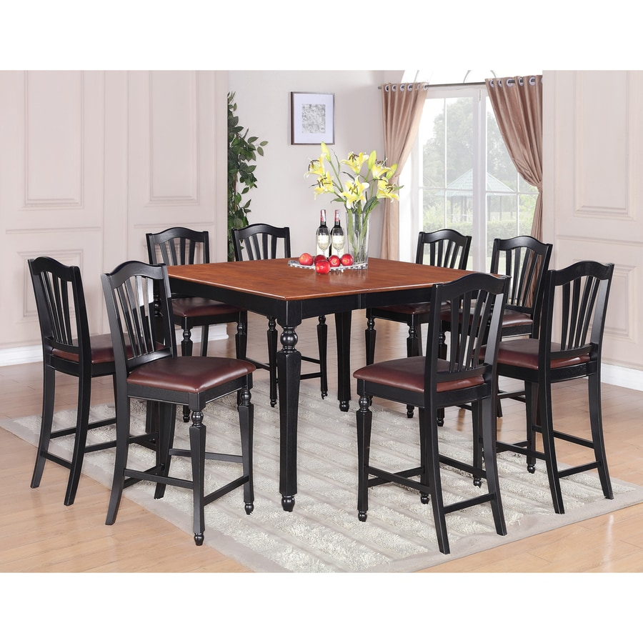 East West Furniture Chelsea Black And Cherry 7 Piece Dining Set With  Counter Height Table