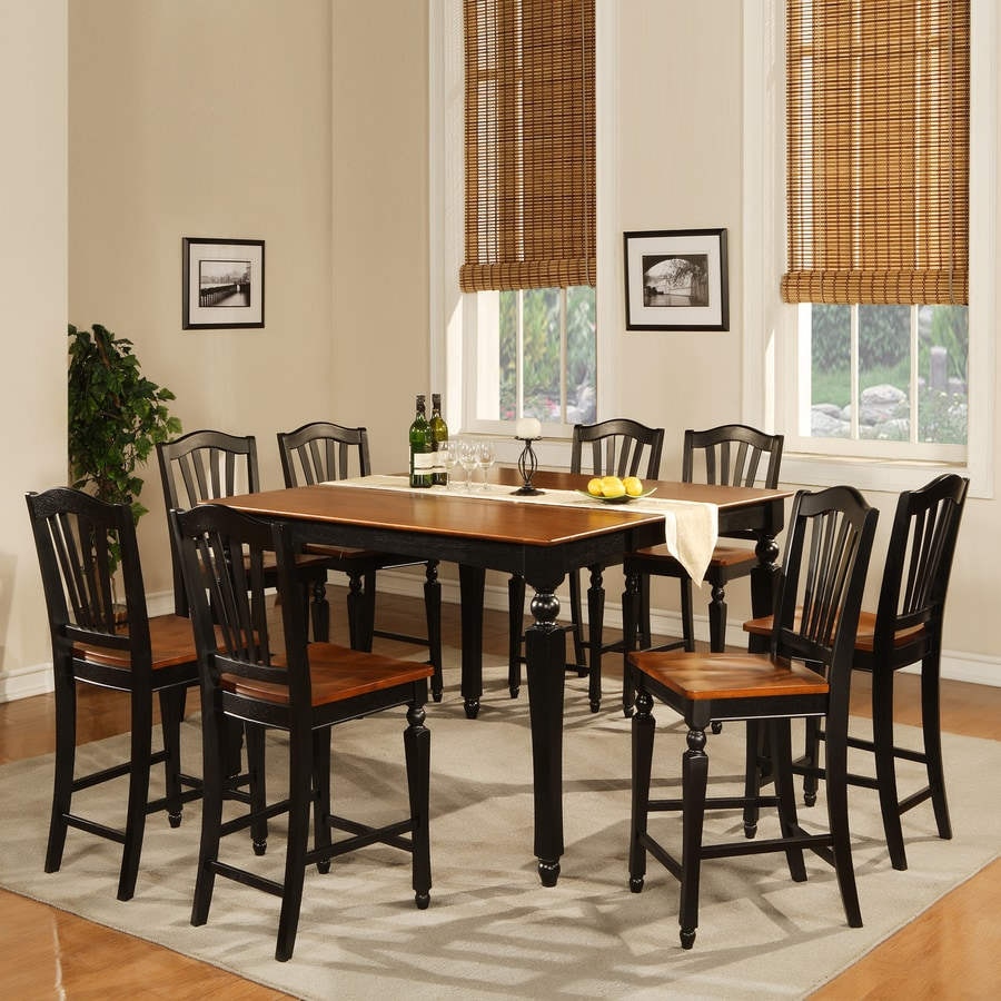 East West Furniture Chelsea Black And Cherry Dining Set With Counter Height  Table