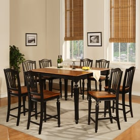 east west furniture chelsea black and cherry dining set with rectangular counter table - Kitchen Counter Tables