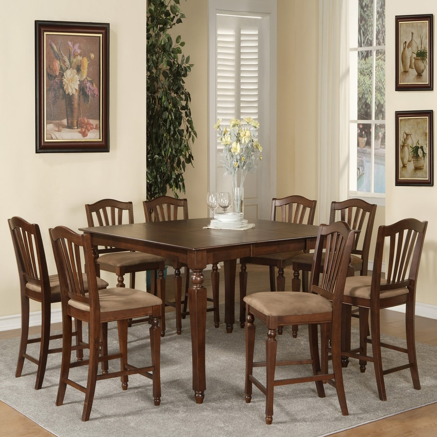 East West Furniture Chelsea Mahogany 7-Piece Dining Set with Counter Height Table