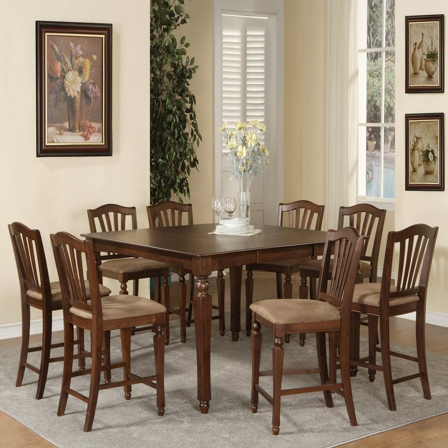 East West Furniture Chelsea Mahogany 9-Piece Dining Set with Counter Height Table